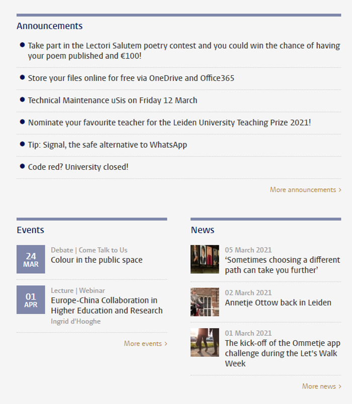 Screenshot of announcements, news items and the agenda