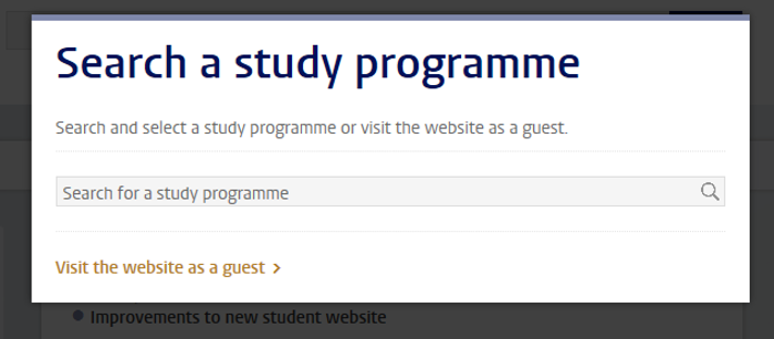 Screenshot: splashscreen select a study programme/specialisation