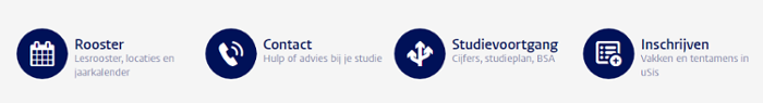 Screenshot van de vier toptaak-knoppen op de homepage