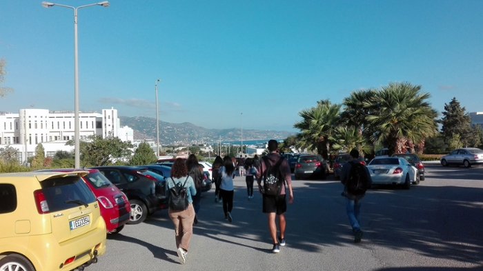 The University of Crete - the white building in the background is the Physics department.